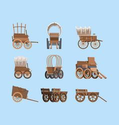 Vintage wagon wooden old carriage big wheels wild vector