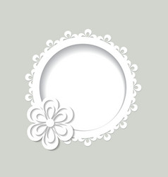 White round floral frame vector