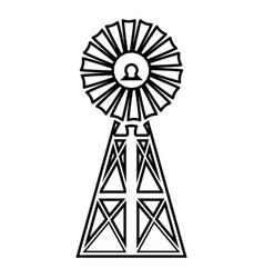 wind turbine windmill classic american icon black vector image