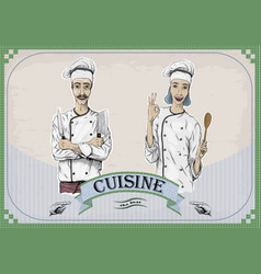 Woman and men caucasian cook chef worker chefs vector