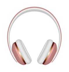 Woman headphones icon realistic style vector