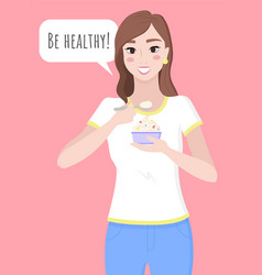 Woman hold cupcake healthy lifestyle and food vector