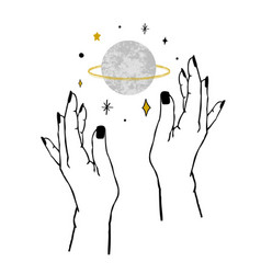 Womens hands holding textured planet and stars vector