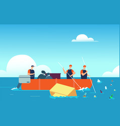 world ocean pollution people in boat collecting vector image