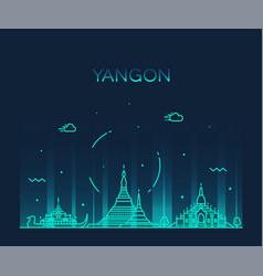 yangon skyline myanmar linear style city vector image