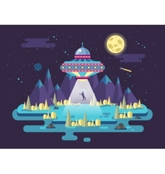 a flying saucer UFO stealing man vector image vector image