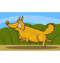 cartoon happy shaggy playful dog vector image