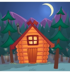 cartoon wooden shack in the night woods vector image