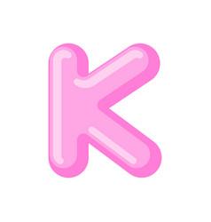 letter k candy font caramel alphabet lollipop vector image
