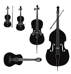music instruments set stringed musical instrument vector image vector image