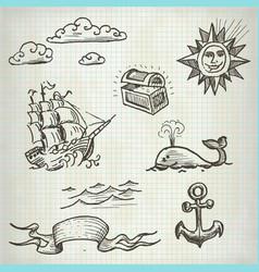 sea doodle set vector image