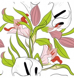 seamless pattern with lily flowers vector image vector image