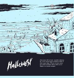 Sketch of a spooky landscape vector