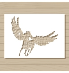 stencil template of pegasus on wooden background vector image vector image