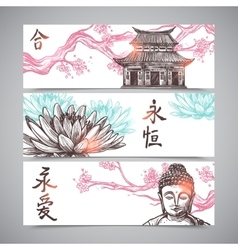 Asian Banners Set vector image