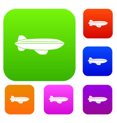 Blimp aircraft flying set color collection vector