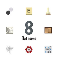 flat icon play set of chequer pawn x-o and other vector image vector image