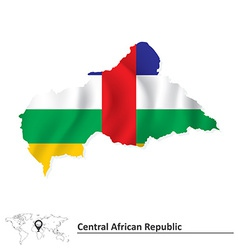 Map of Central African Republic with flag vector image