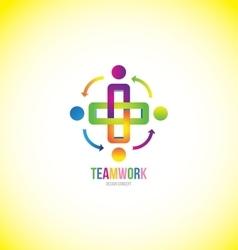 Teamwork logo design concept vector image