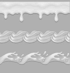 whipped cream or milk seamless pattern vector image