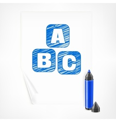Blue marker and letters on vector