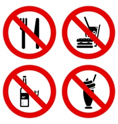 no eating and drinking signs vector image