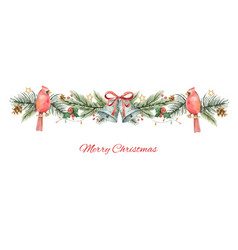 Watercolor christmas banner with fir vector