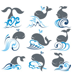 whale and sea waves vector image vector image