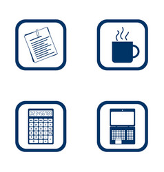 flat design icons office set vector image vector image