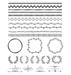 Hand-Drawn Seamless Borders and Design Elements vector image vector image