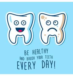 Healthy and ill teeth vector