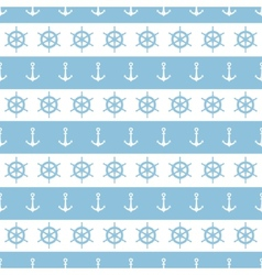 Nautical stripes anchors and wheels seamless vector image