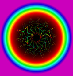 neon star from a spiral in a rainbow circle vector image vector image