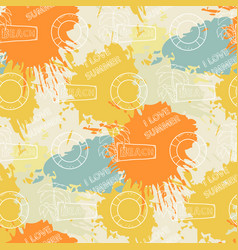 Summer pattern on the background of colorful blots vector
