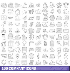 100 company icons set outline style vector