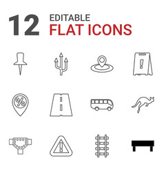 12 road icons vector