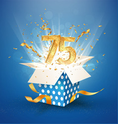 75 th years anniversary and open gift box with vector