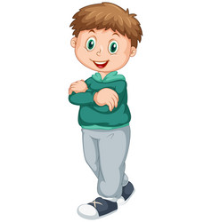 Adorable boy on isolated white background vector