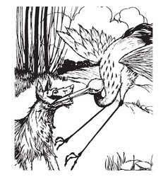 aesop the wolf and the crane vintage vector image