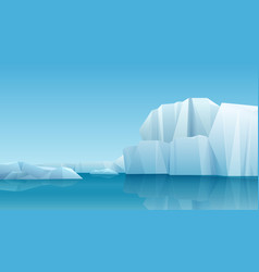 arctic winter panorama landscape with iceberg and vector image