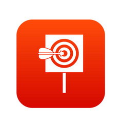 arrow in the center of target icon digital red vector image