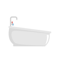 Bathtube with water tap icon flat style vector