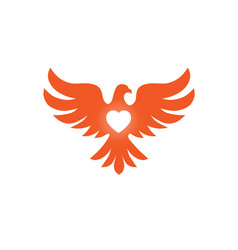 Bird with heart love logo vector