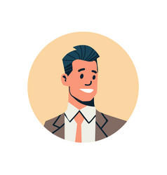 Brunette businessman avatar man face profile icon vector