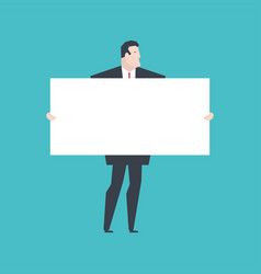 businessman holding white banner boss keep clean vector image