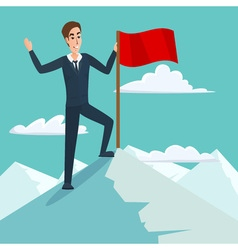 Businessman with flag on Mountain peak success and vector image