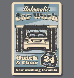 Car wash service retro poster for garage design vector