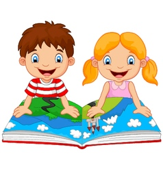 Cartoon boy and girl were readings the story vector