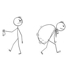 cartoon businessman with small bag money vector image