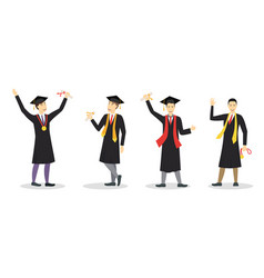 cartoon graduation of happy students boy set vector image